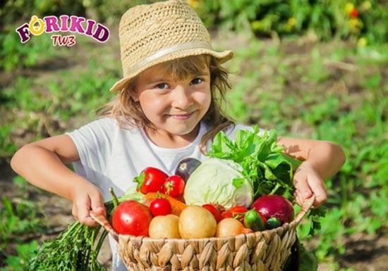 Rau củ cung cấp nhiều vitamin và chất xơ cần thiết cho hệ tiêu hóa của trẻ