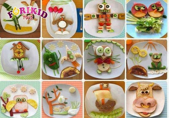 Món ăn được trang trí bắt mắt, hấp dẫn giúp trẻ ăn ngon miệng hơn