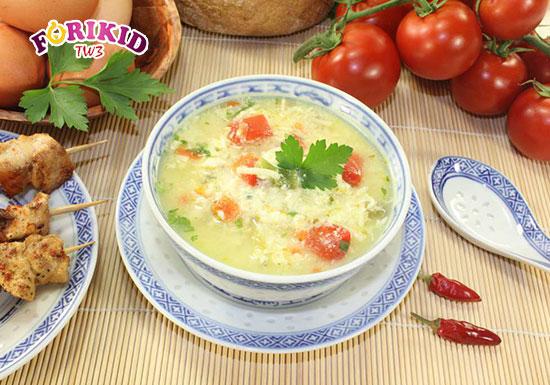 Cháo trứng cà chua - Món ăn bổ dưỡng, dễ làm phù hợp để phục hồi sức khỏe cho trẻ vừa ốm dậy