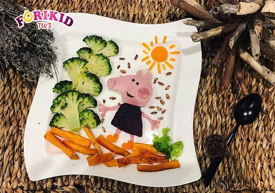 Những món ăn đẹp mắt sẽ giúp cho bé hào hứng với bữa ăn và giúp trẻ ăn ngon, hấp thu tốt hơn