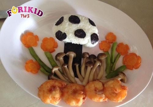 Cuộn cơm thành hình cây nấm đẹp mắt cùng tôm, nấm, đậu…