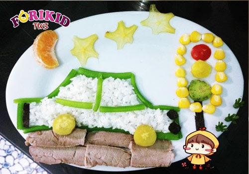 Cùng bé học về giao thông với đĩa cơm đầy đủ thịt, rau, hoa quả